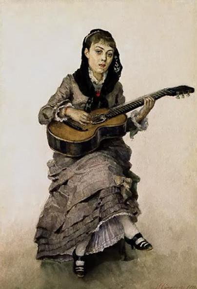 С гитарой (Портрет С.А.Кропоткиной). 1882.