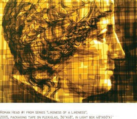 Вот, например, картины из клейкой ленты.